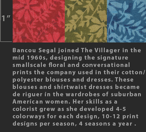Marielle Bancou Segal printed textile design for The Villager 1960s  Drexel Digital Museum  12