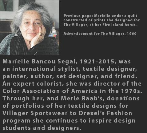 Marielle Bancou Segal Villager Sportswear textile design 1960s portrait bio DDM