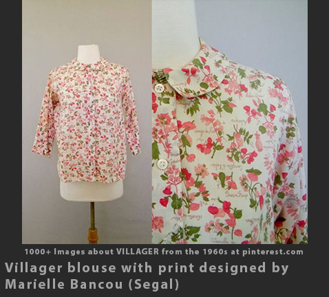 Max Raab Villager Marielle Bancou Segal printed blouse 1960s