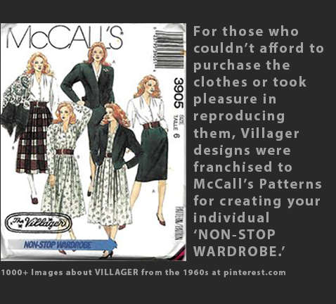 Max Raab Villager McCalls patterns 1960s fashion