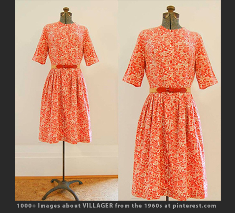 Max Raab Villager orange floral shirt dress early 1960s