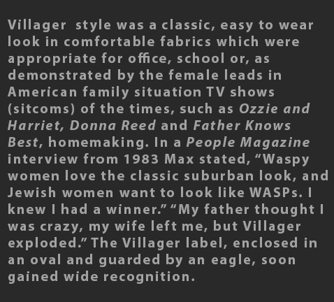 Max Raab Villager style fashion 1960s