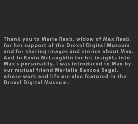Max Raab Merle Raab gallery acknowledgements