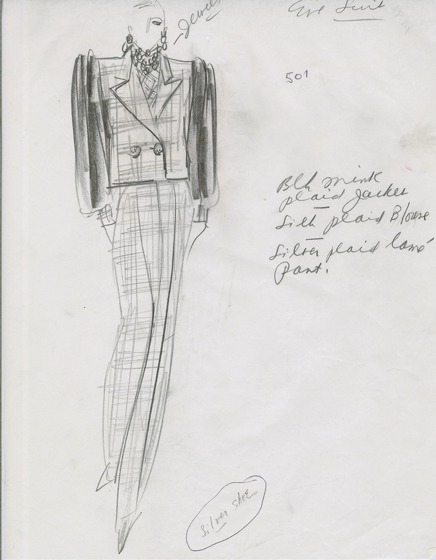 Sketch on paper. 1980s. James G. Galanos Archive, Drexel University.