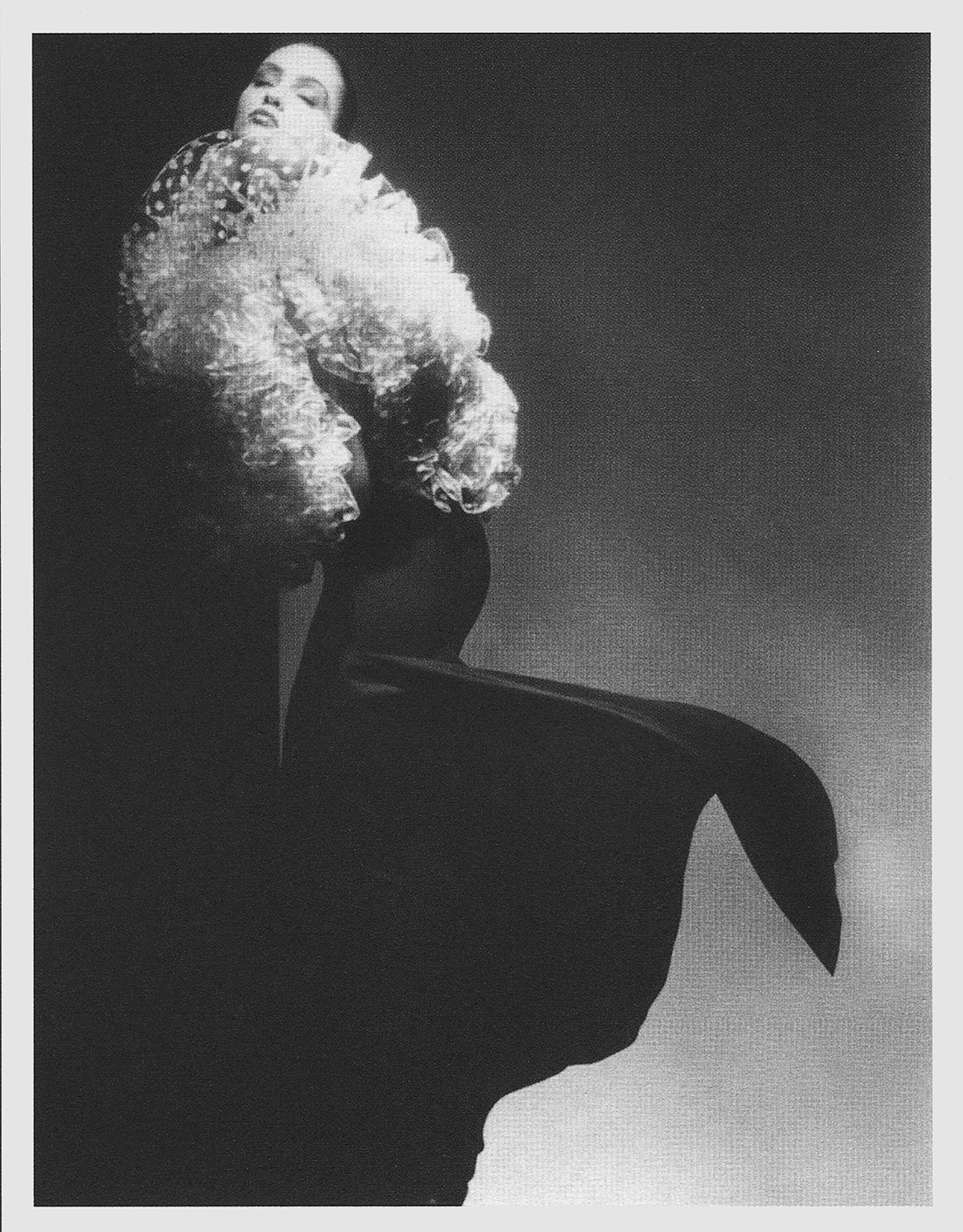James Galanos. Evening gown and wrap. Silk satin and tulle. 1987. Publicity photograph. Victor Skrebneski. Model, Tatiana. Drexel University Archives