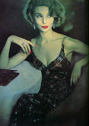 Publicity photograph. Tartan beaded evening gown. Harper's Bazaar, 1957. James Galanos Archive, Drexel University.